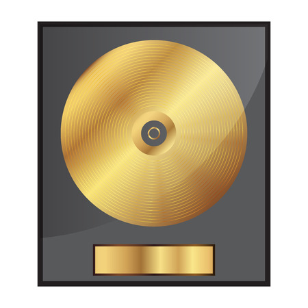 disk jockey: Vector illustration of gold disk