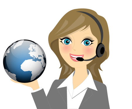 call centre girl: Vector illustration of telephone operator