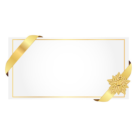 Vector illustratie van giftcard wit strikje gouden lint Stock Illustratie