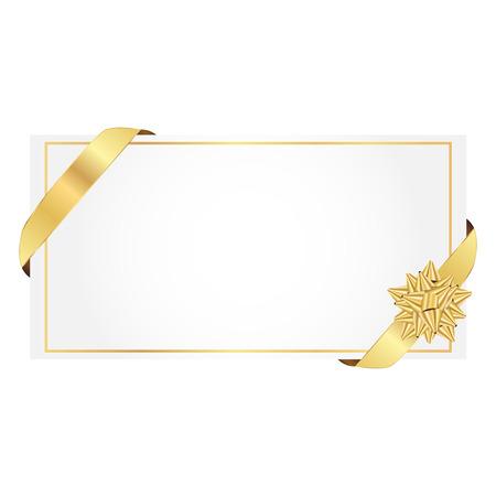 Vektor-Illustration von Geschenk-Karte wit gold Ribbon bow Standard-Bild - 33891091