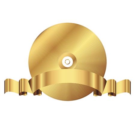 gold record: Vector illustration of vinyl record gold