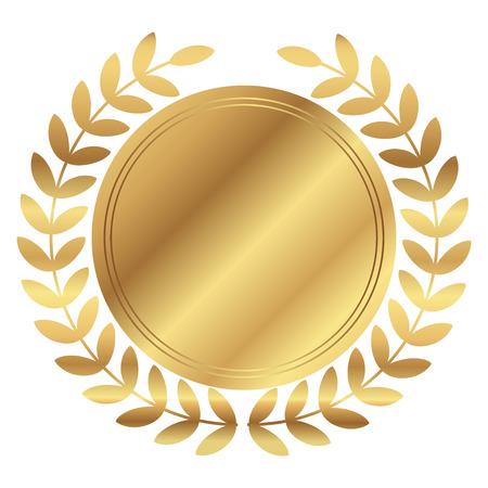 Vector illustratie van de gouden medaille en lauweren
