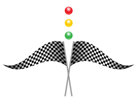 racing checkered flag crossed: Vector illustration of Flag race Illustration