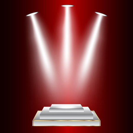 power projection: Vector illustration of lights on red background