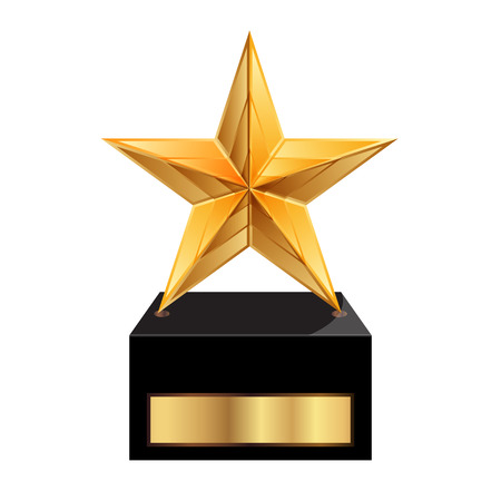 achievement clip art: Vector illustration of gold star award