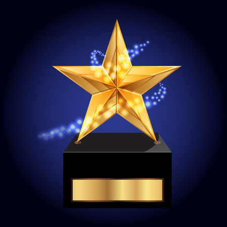 first prize: Vector illustration of gold star award
