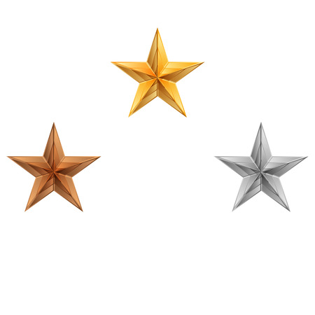 gold silver bronze: Vector illustration of 3 stars Illustration