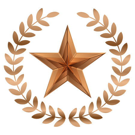 Vector illustration of bronze Star with laurels Illustration