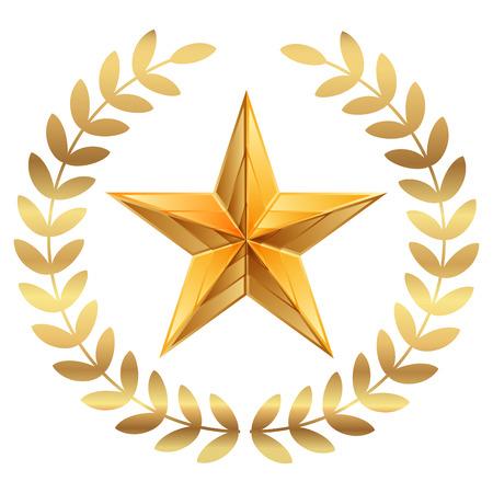 Vector illustratie van de gouden ster met lauweren Stock Illustratie