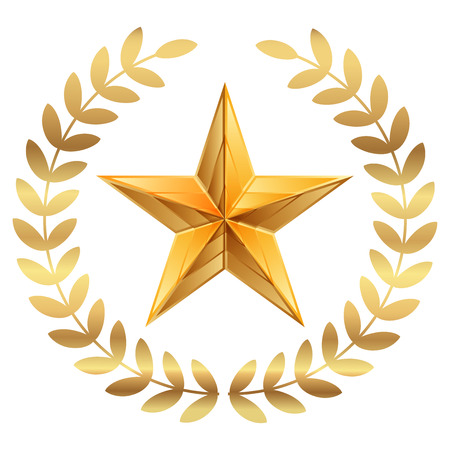 Vector illustration of gold Star with laurels Illustration