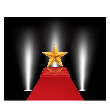 luz roja: Ilustraci�n del vector de la estrella de oro en una alfombra roja Vectores