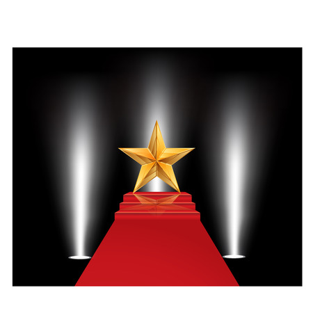 light red: Vector illustration of gold star on a red carpet