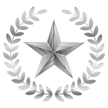 Vector illustration of Silver Star with laurels Illustration