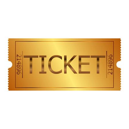 Vector illustration of gold ticket Vettoriali