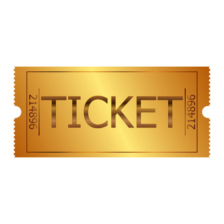 cinema ticket: Vector illustration of gold ticket Illustration