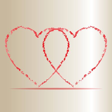love mom: Vector illustration of Two Hearts