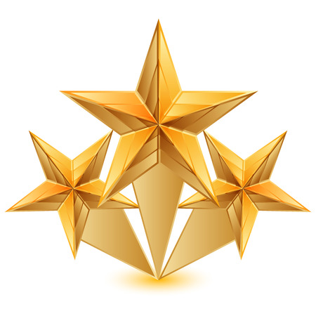 three objects: Vector illustration of 3 gold stars