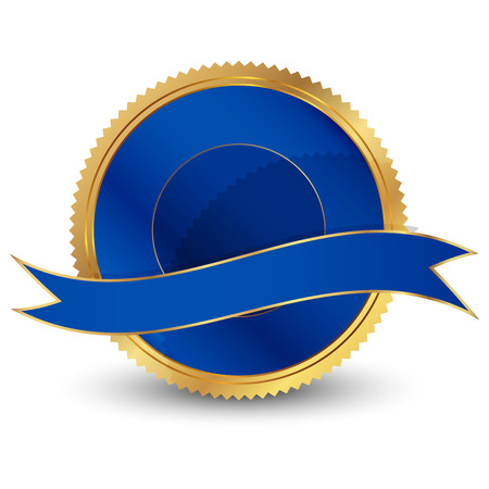 silver ribbon: Vector illustration of blue seal