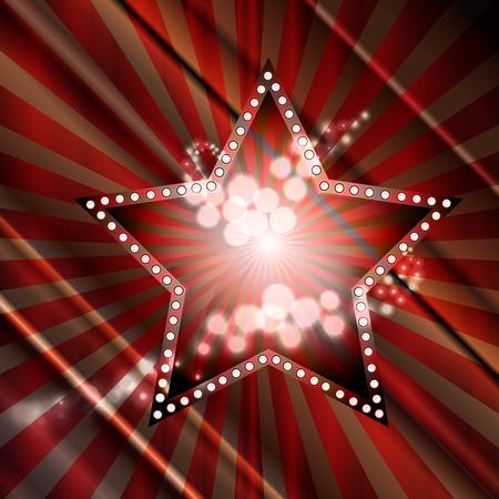 hollywood christmas: Vector illustration of red star Illustration