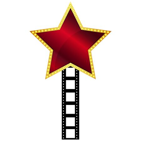 hollywood christmas: Vector illustration of red star Illustration