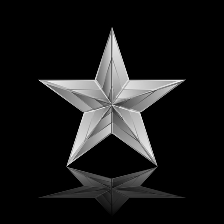 chrome metal: Vector illustration of silver star
