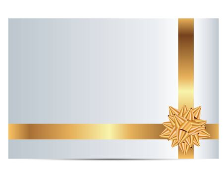 yellow ribbon: Vector illustration of gift card with gold ribbon