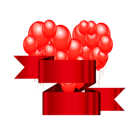 latex: Vector illustration of Balloons with ribbon