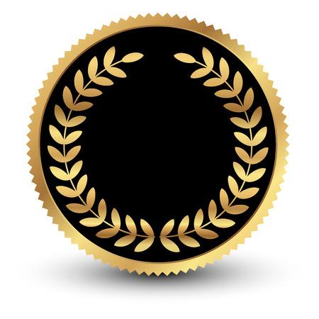 Vector illustration of black medal with gold laurels