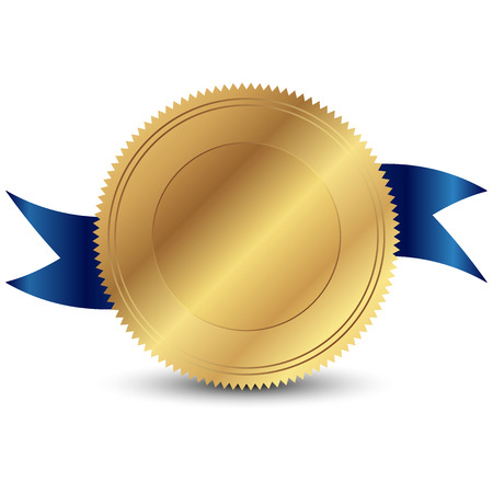 an achievement: Vector illustration of gold seal Illustration