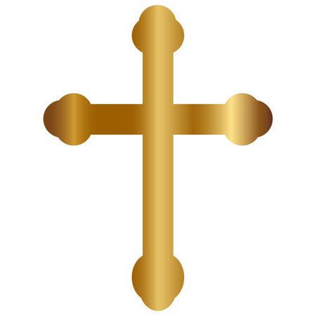 Vector illustration of Gold Cross Illustration