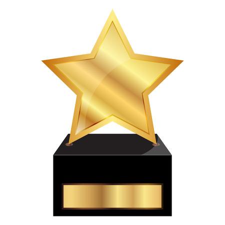 trofeo: Ilustración del vector de estrellas medalla de oro Vectores