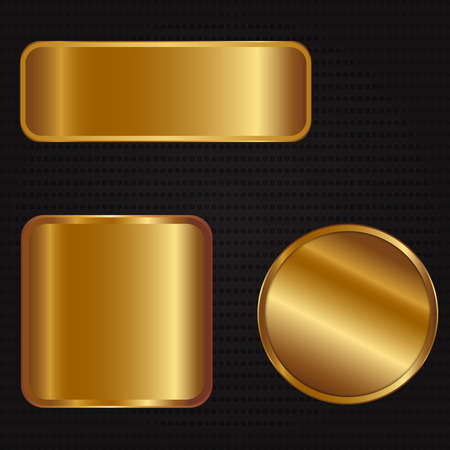 Vector illustration of three golden banners Illustration