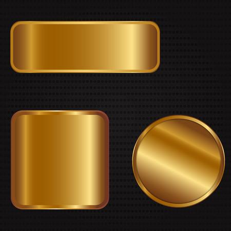 brushed steel: Vector illustration of three golden banners Illustration