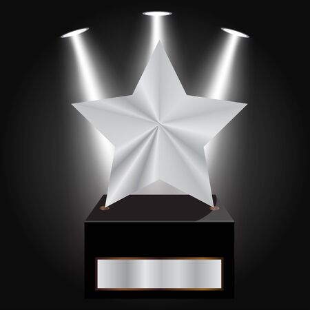 award trophy: Vector illustration of silver star award