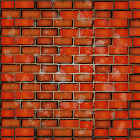 red brick wall: Vector illustration of Red brick wall