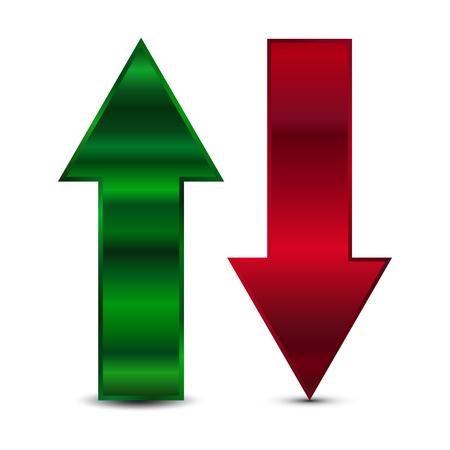 Vectorillustratie van groene en rode pijl