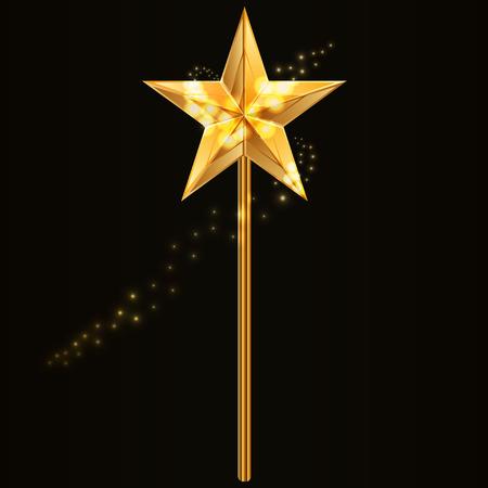 Vector illustratie van de toverstaf met gouden ster