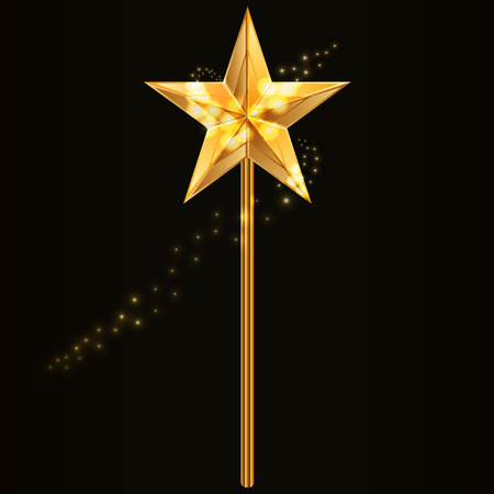 star wand: Vector illustration of magic wand with golden star