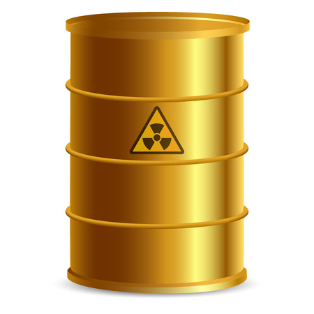 radioactive tank and warning sign: Vector illustration of Uranium barrel Illustration
