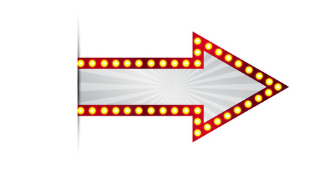 Vector illustration of red arrow sign and light bulbs surround Illusztráció