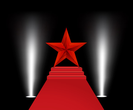 stasis: Vector illustration of red star on a red carpet