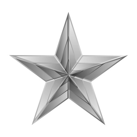 silver reflection: Vector illustration of silver star