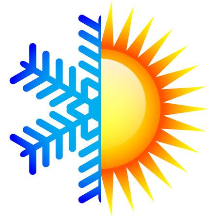 Vector illustratie van de winter en zomer pictogram
