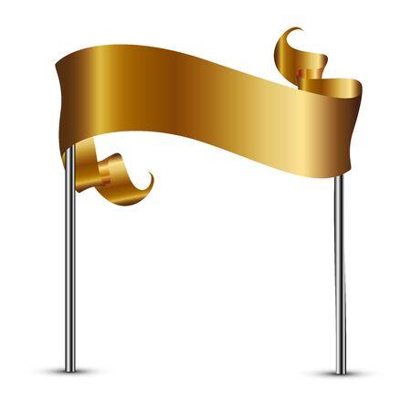 winning location: Vector illustration of gold flag Stock Photo