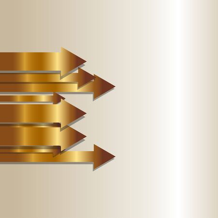 Vector illustration of gold Arrows