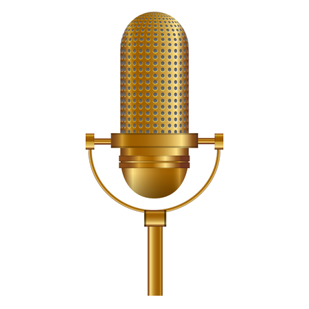narrate: Vector illustration of Gold Microphone Illustration