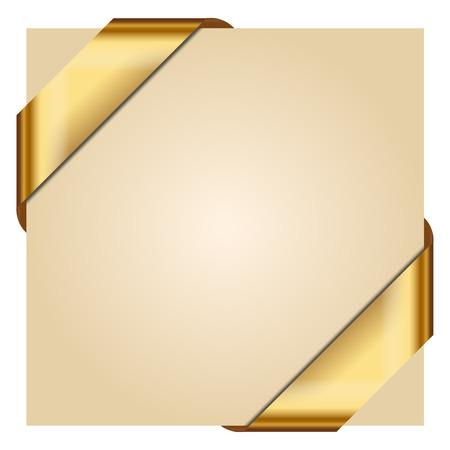 dorado: Ilustración del vector de la cinta de oro de la esquina