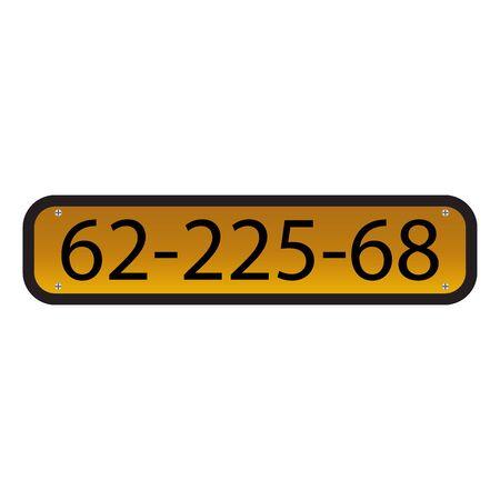 license plate: Vector illustration of car number Illustration