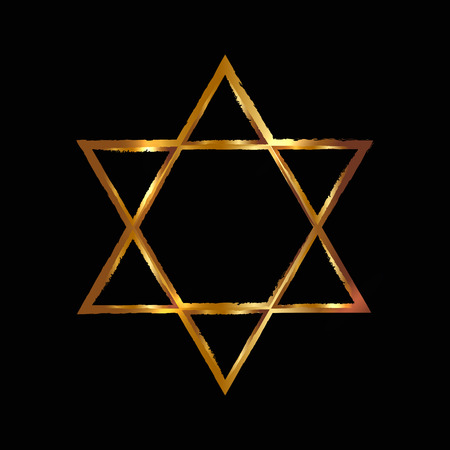 magen: Vector illustration of golden Magen David star of David