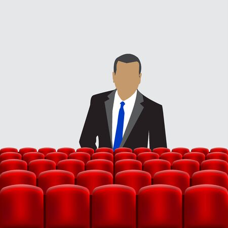 lecture hall: Vector illustration of Rows of red cinema Illustration